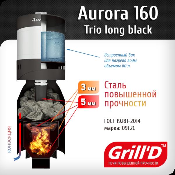 Печь для бани Grill'D Aurora 160 TRIO Long