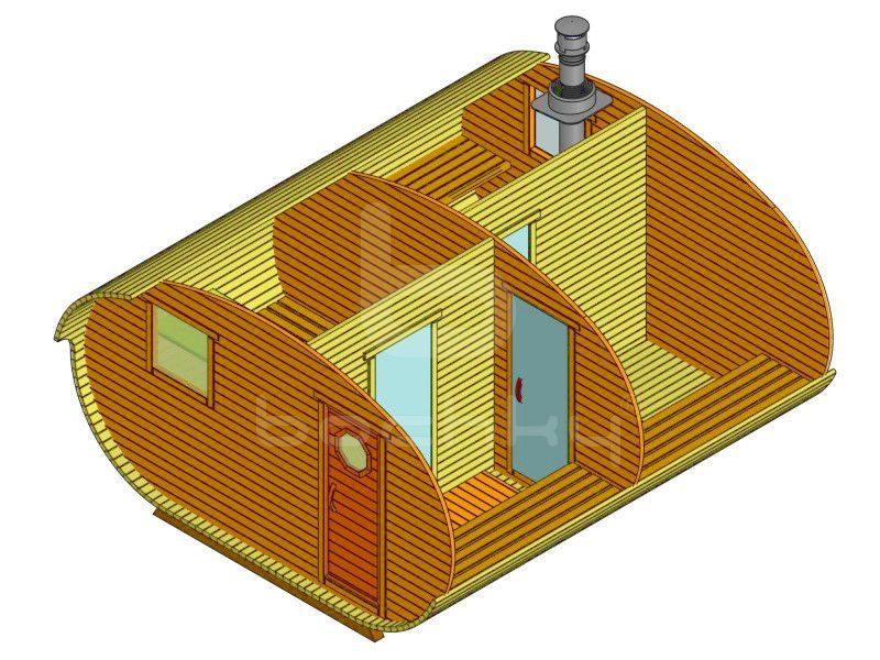 Баня-овалбочка 4×4.5 с перегородкой