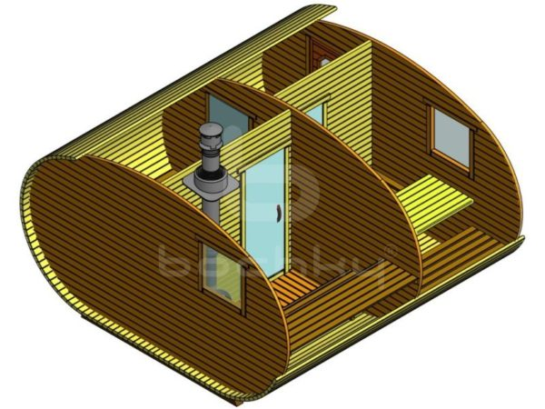 Баня-овалбочка 4×4 с перегородкой